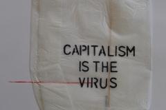 "Пандора Апостоловска Саздовска "" Capitalismis the virus "" тех-комбинирана дим 50х70см 2020год"